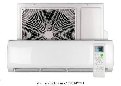Set of air conditioner ac inverter heat pump mini split system with indoor outdoor unit and remote control isolated on white background