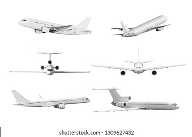 Set of airplane isolated from the white background.