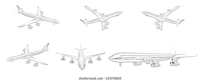 Set of airplane  on a white background. Pencil drawing