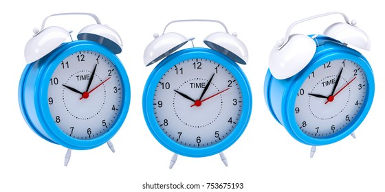 Set of a alarm clock. Isolated on white background. 3d illustration