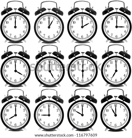 set alarm clocks showing every hour stock photo edit now 116797609 Military Time Clock a set of alarm clocks showing every hour over white background