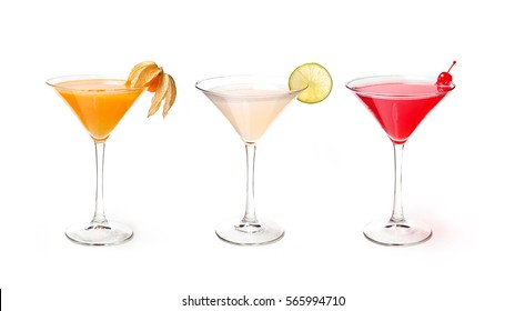 set with alcohol cocktail on white background