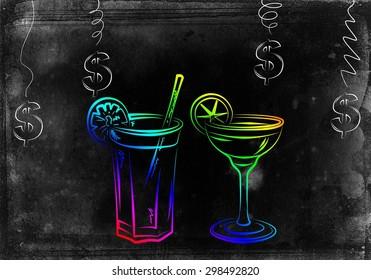 Set of alcoholic cocktails illustration