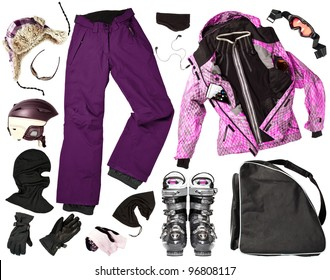 The set of all necessary woman skier clothing and accessories for winter fun outdoors, isolated over white background