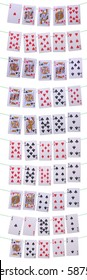 set of all possible poker hands on green wire (isolated on white background)
