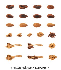 Set of almond nuts compositions isolated over the white background , set of several different foreshortenings