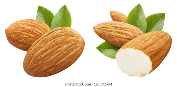 Set of almonds with leaves, isolated on white background