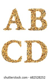 """Set of Alphabet """"A B C D"""" made by putting grain on isolate white background. A beautiful capital letter """"A B C D"""" made from cereal of birds food.You can see another letter in my portfolio."""