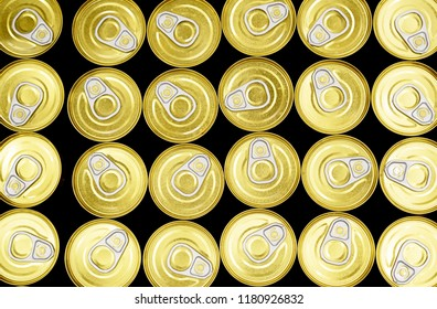 Set of aluminum cans with a drink on the supermarket counter