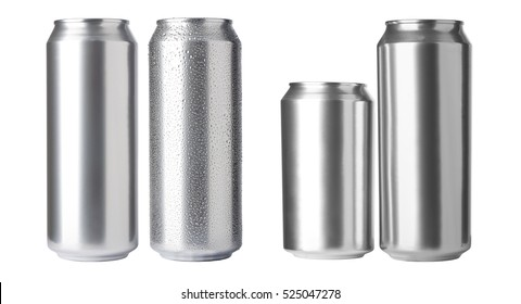 set of aluminum cans isolated on white