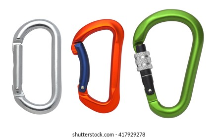 Set of Aluminum carabiner isolated on a white background