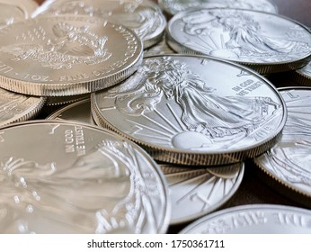 Set of American silver eagle coins, highlight the lady liberty side of the silver coin - Shutterstock ID 1750361711