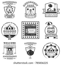 Set of amuesment park labels and design elements in vintage style. Black and white amusement park symbols, logos, bages and design elements. Attractions, carousel, wheel, ice cream cart.