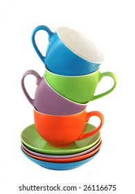 Set of amusing ware: multi-coloured cups and saucers
