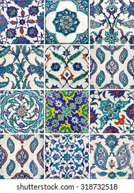 Set of ancient traditional handmade tiles, more than 200 years, collection of Islamic ornaments