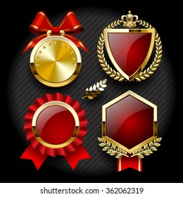 Set of anniversary labels and classic gold tags for sale. Contain the Clipping Path