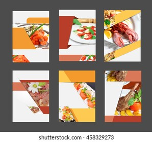 Set of annual report brochure flyer design template with food background, layout in A4 size