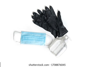 Set. Antibacterial gel, gloves, surgical mask