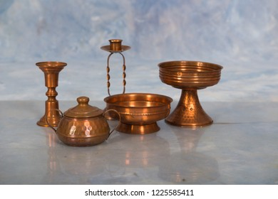 set of antique  copper jars