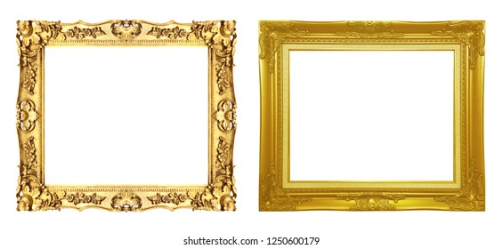 Set of antique gold frame isolated on white background, clipping path.