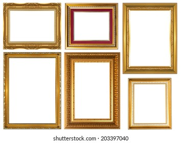 Set antique golden frame isolated on white background