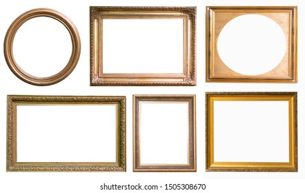 Set of antique picture frames isolated on white background