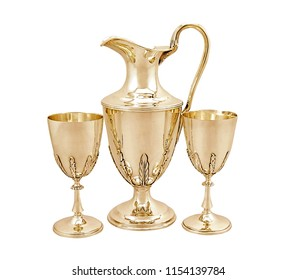 set of antique wine glass with jug