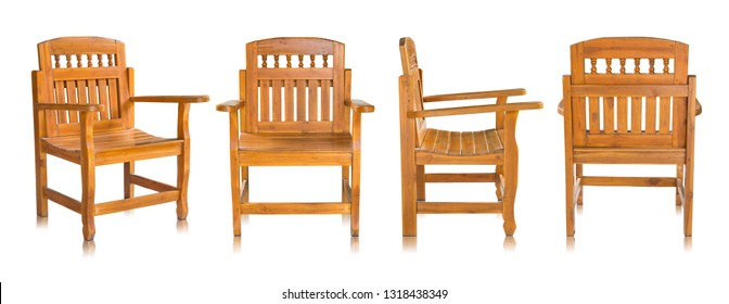 set of antique wooden chair isolated on white background