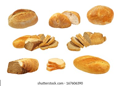 Set of appetizing fresh bread isolated on white background.