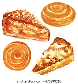 Set apple pie and cinnamon roll. A piece of cake. Watercolor illustration. Watercolor food, pastries.