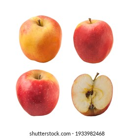 Set apple winter variety Florina or Querina  on a white background isolated