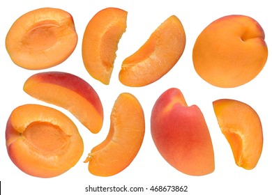 Set of apricot cuts isolated on white