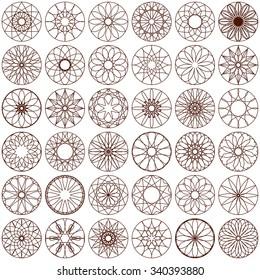 Set of Arabic ornamental symbols. Decorative elements.