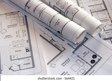 Set of architectural plan drawings