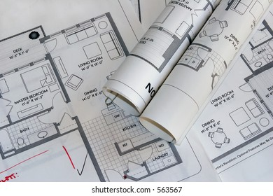 Set of architectural plan drawings with editing marks