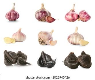 Set with aromatic black (Allium sativum) and white garlic bulbs on white background