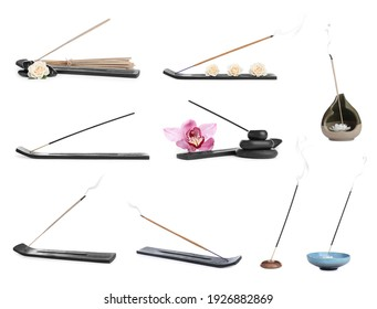 Set with aromatic incense sticks on white background