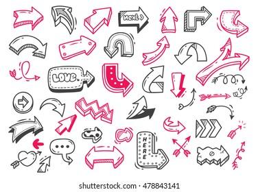Set of arrow doodle isolated on white background