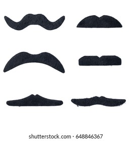Set of artificial fake mustache for joke party or halloween isolated on white background