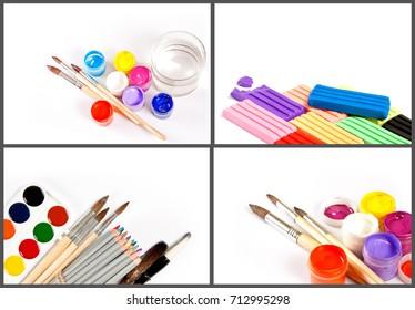 Set of the artist supplies