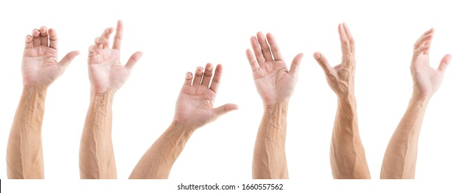 Set of asian man hands isolated on white background