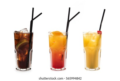 set of assorted long drinks isolated on white