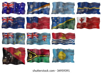 Set of  Australia and Pacific basin countries flags. Illustration over white background