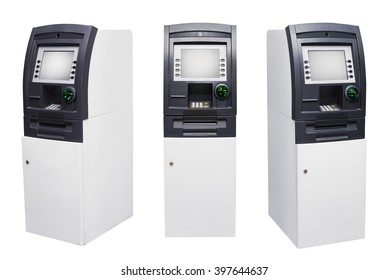Set of Automated Teller Machine or ATM isolated over white background