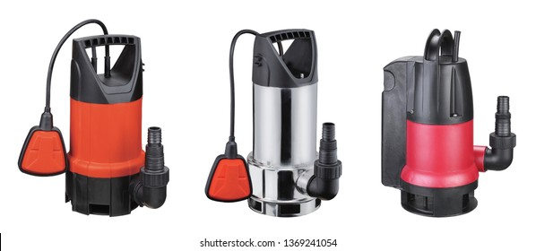 Set automatic drainage pumps with float pumping water from flooded rooms, holes, bore holes, basements. Isolated on white background. Set of 3. Application houses country house, village, cottage.
