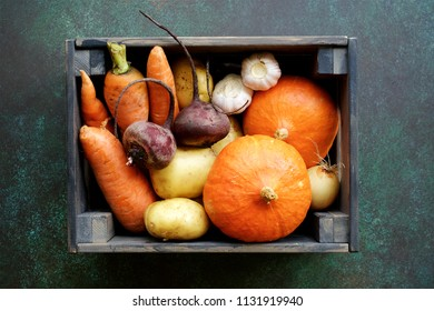 Set of autumn vegetables in wooden box. Fresh Vegetables from Farm Market