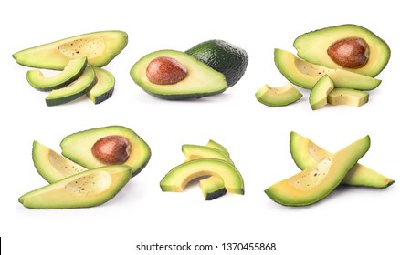 set of avocado on white background