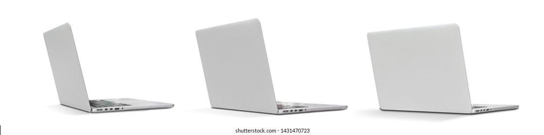 Set Back view Of the latest laptop Designed to be slim modren , isolated on white background with clipping path
