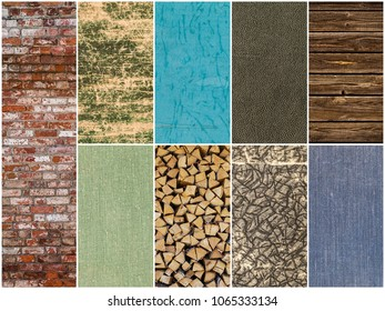 Set background image surface at different brick, wood, leather. collection of different backgrounds