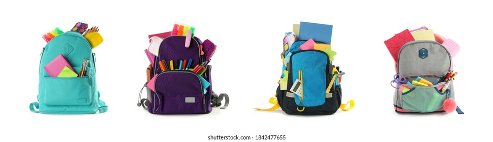 Set of backpacks with bright school stationery on white background, banner design
